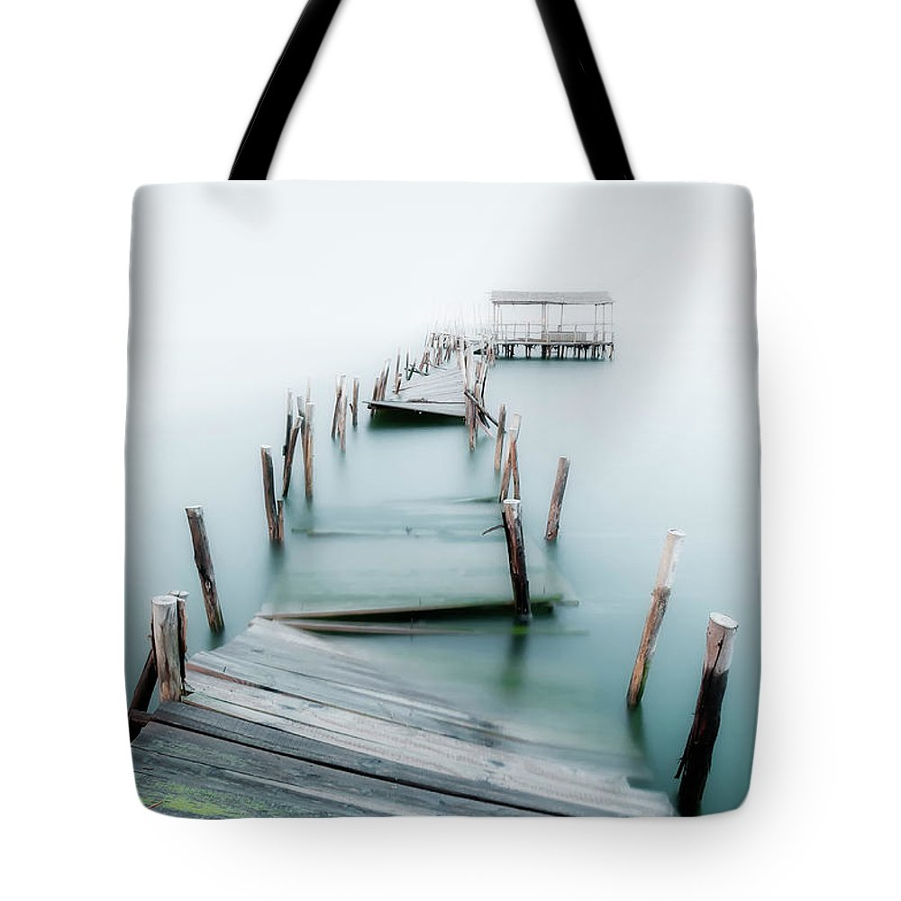 The End Tote Bag featuring the photograph Jetty by Lt Photo