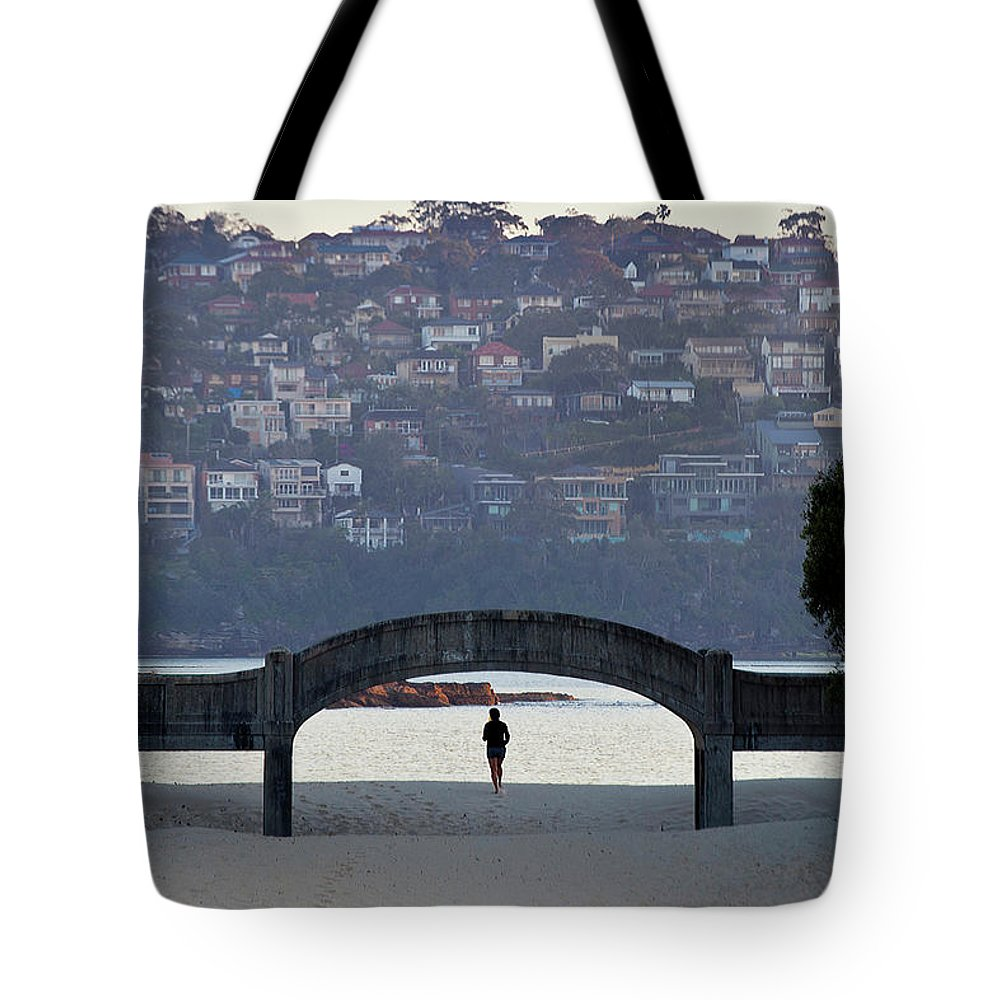 Scenics Tote Bag featuring the photograph Jogging On Balmoral Beach by Image By Erik Pronske Photography