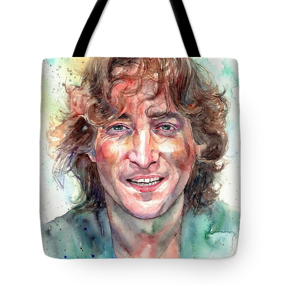 John Lennon Tote Bag featuring the painting John Lennon Smiling by Suzann Sines