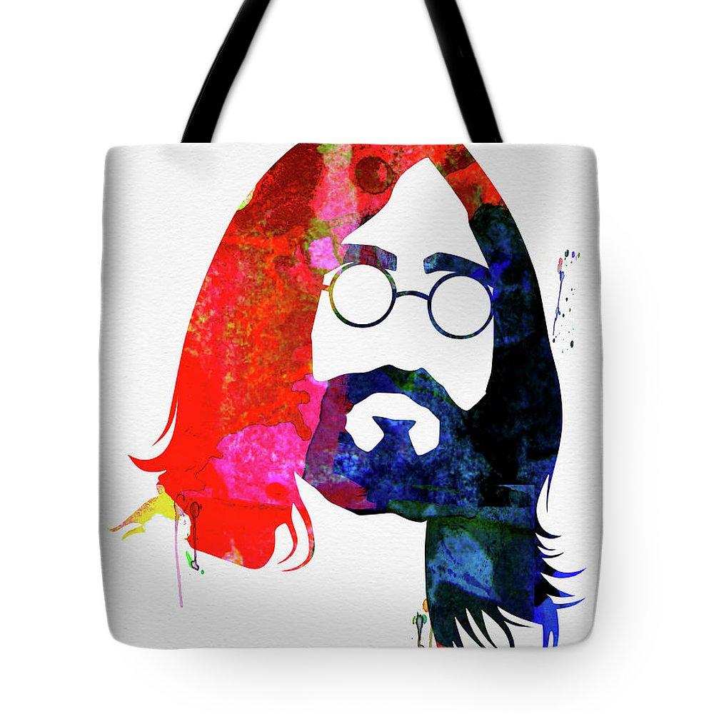 John Lennon Tote Bag featuring the mixed media John Watercolor by Naxart Studio