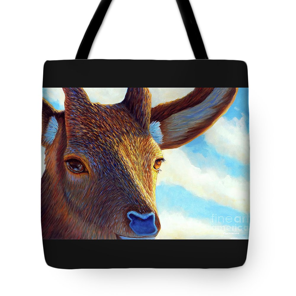 Deer Tote Bag featuring the painting Johnny On The Spot by Brian Commerford