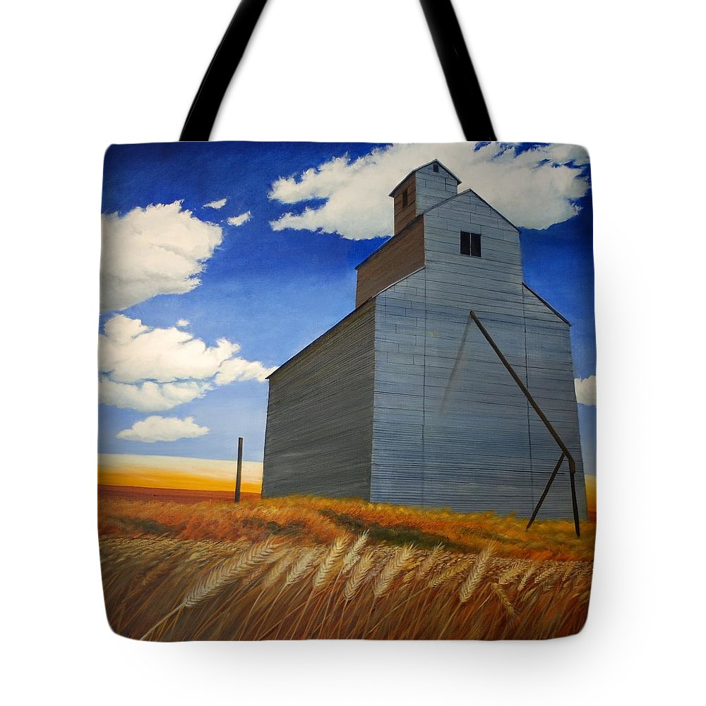 Wheat Tote Bag featuring the painting Johnson Silo by Leonard Heid
