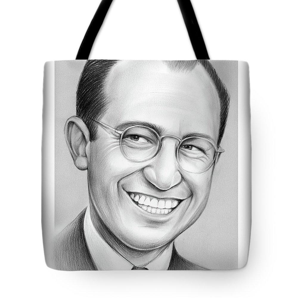 Jonas Salk Tote Bag featuring the drawing Jonas Salk by Greg Joens