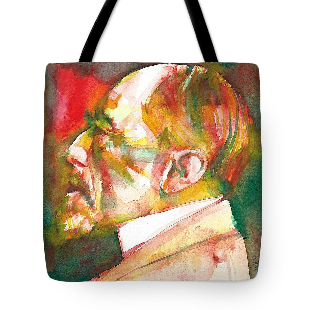 Conrad Tote Bag featuring the painting Joseph Conrad - Watercolor Portrait.3 by Fabrizio Cassetta