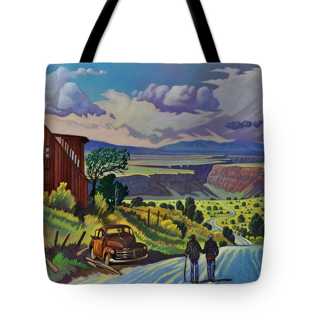 Infinity Tote Bag featuring the painting Journey Along The Road To Infinity by Art West
