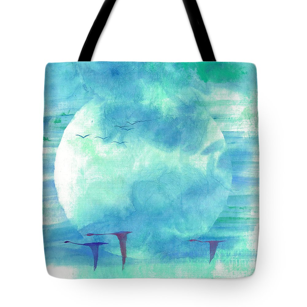 Majestic Cranes Journey Beyond Where Eyes Can See. The Painting Is Done With Watercolor On Rice Paper By Mui-joo Wee In Simple Contemporary Brush Strokes Tote Bag featuring the painting Journey Beyond by Mui-Joo Wee