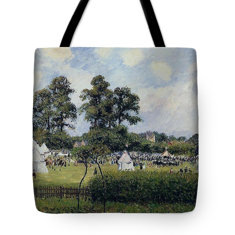 Camille Pissarro Tote Bag featuring the painting Jubilie Celebration At Bedford Park, London, 1987 by Camille Pissarro