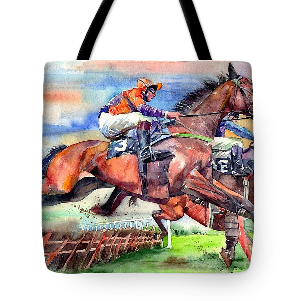Horse Tote Bag featuring the painting Jump Racing by Suzann Sines