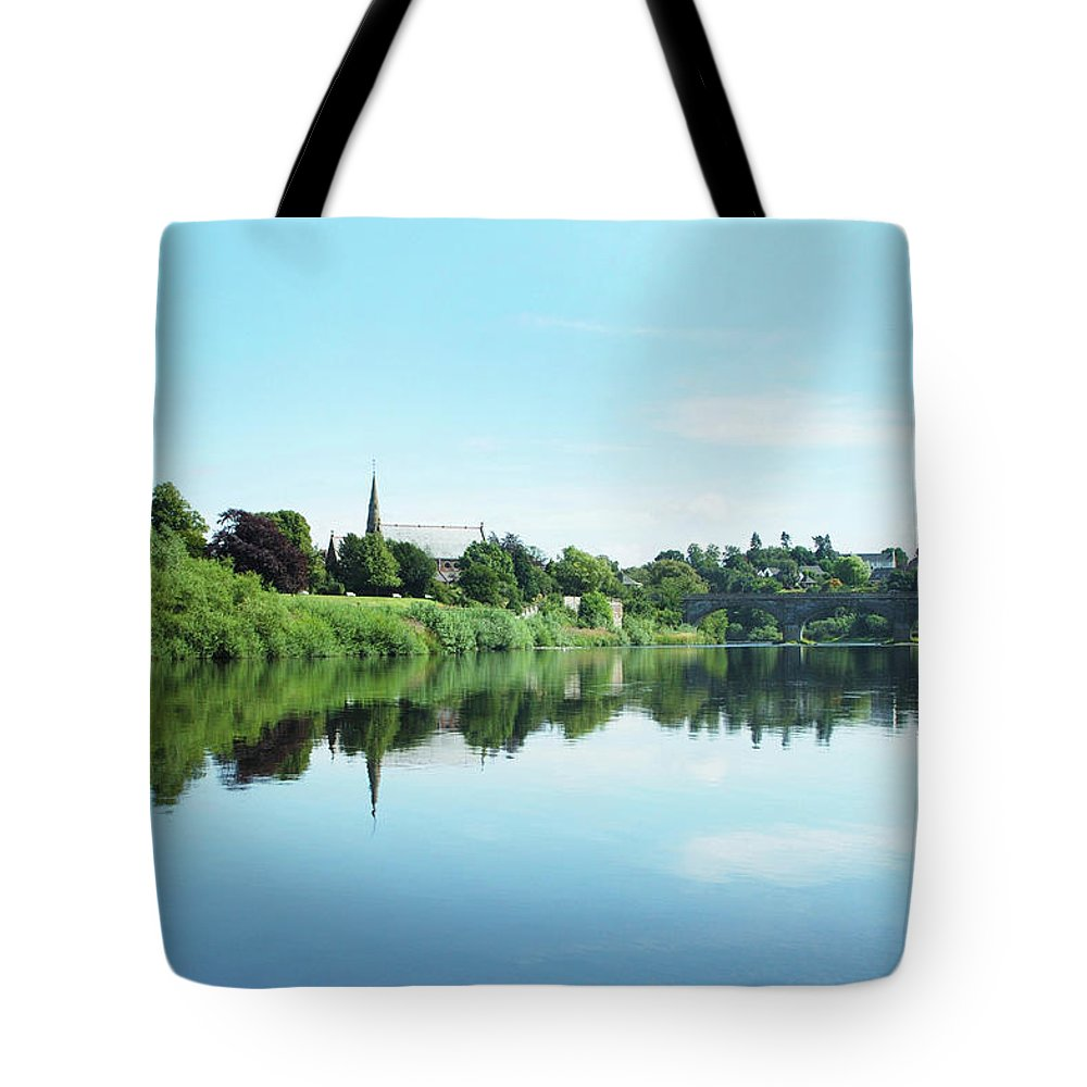 Tweed Tote Bag featuring the photograph Junction Pool And View Of Tweed At Kelso by Victor Lord Denovan