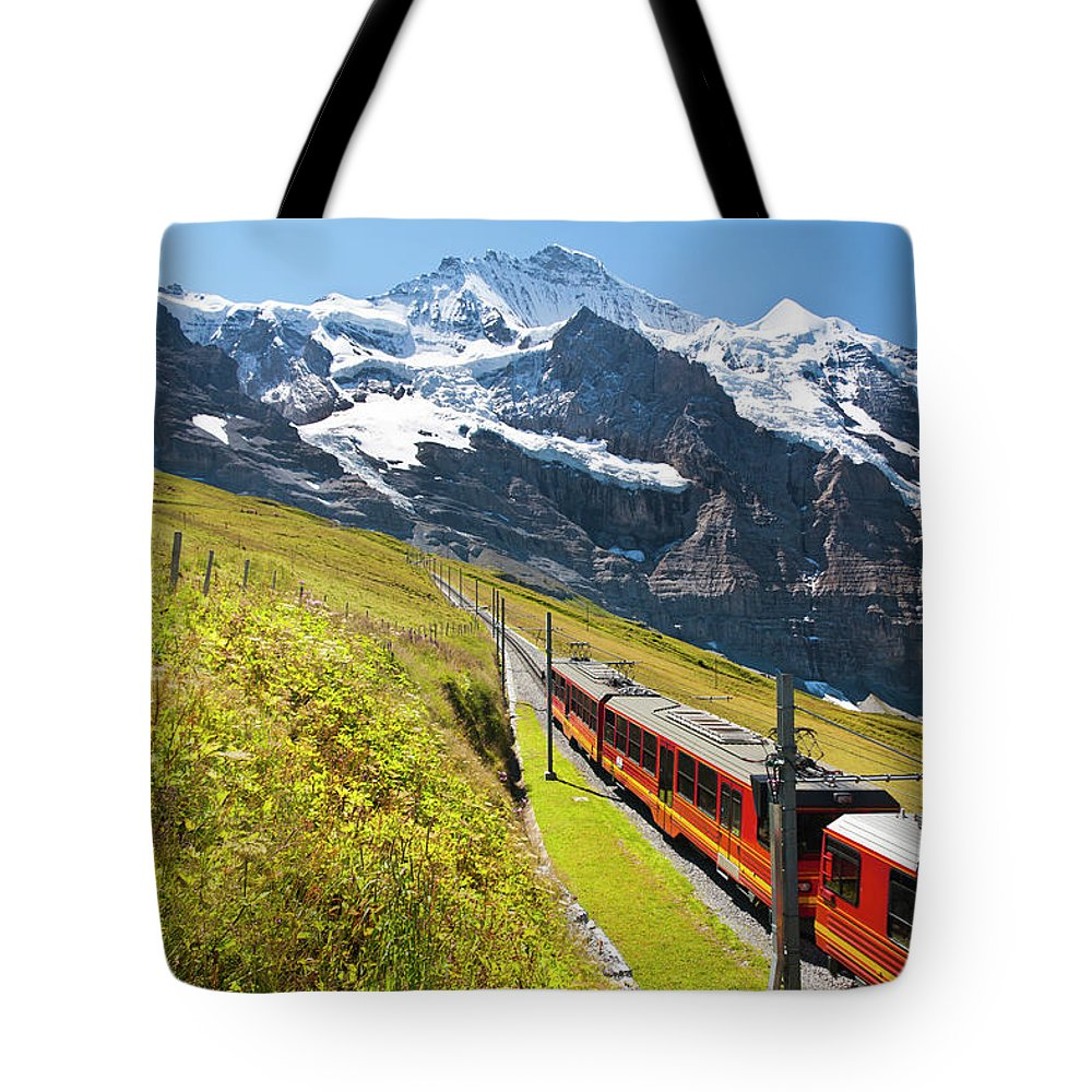 Scenics Tote Bag featuring the photograph Jungfraubahn, Swiss Alps by Michaelutech
