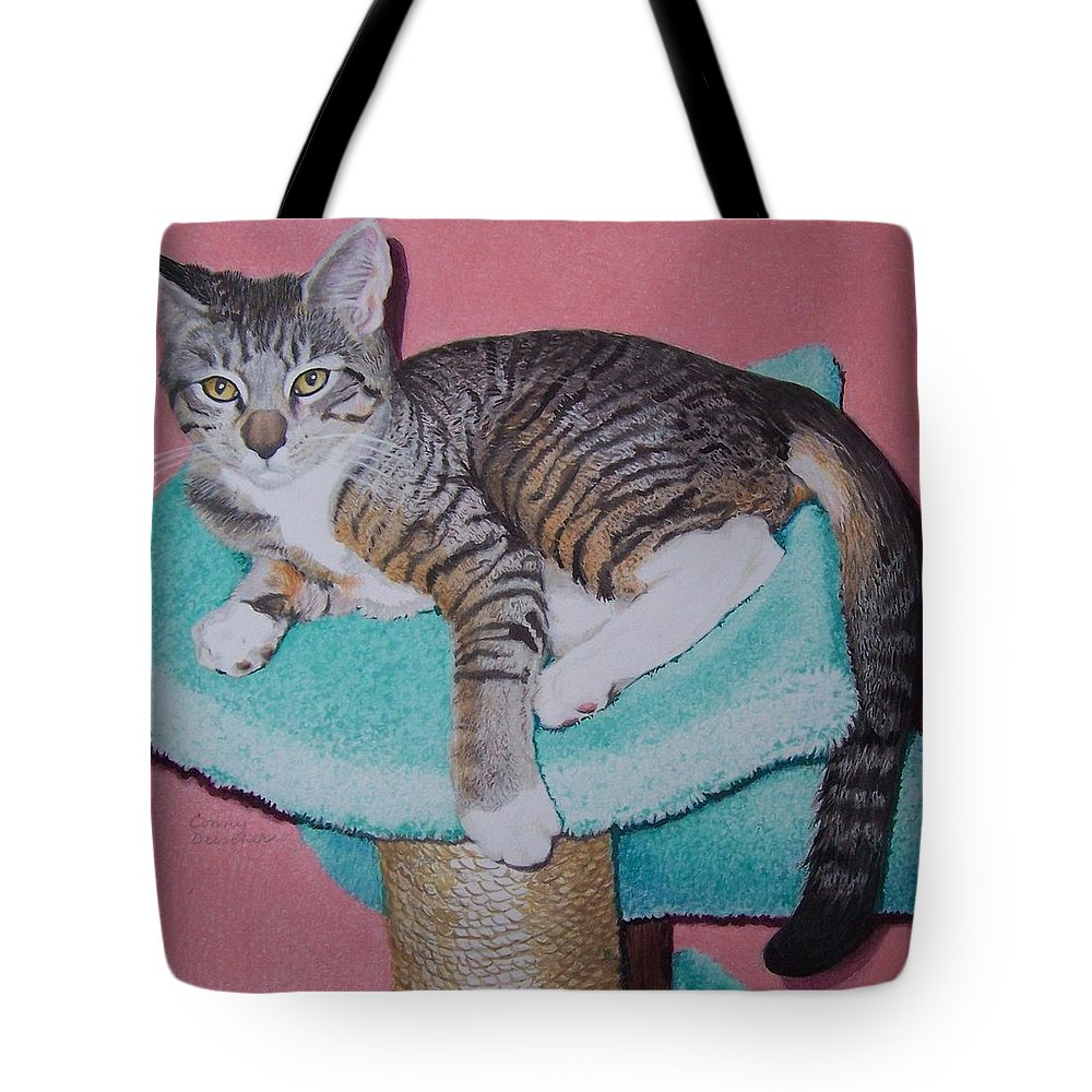 Cat Tote Bag featuring the mixed media Kail by Constance DRESCHER