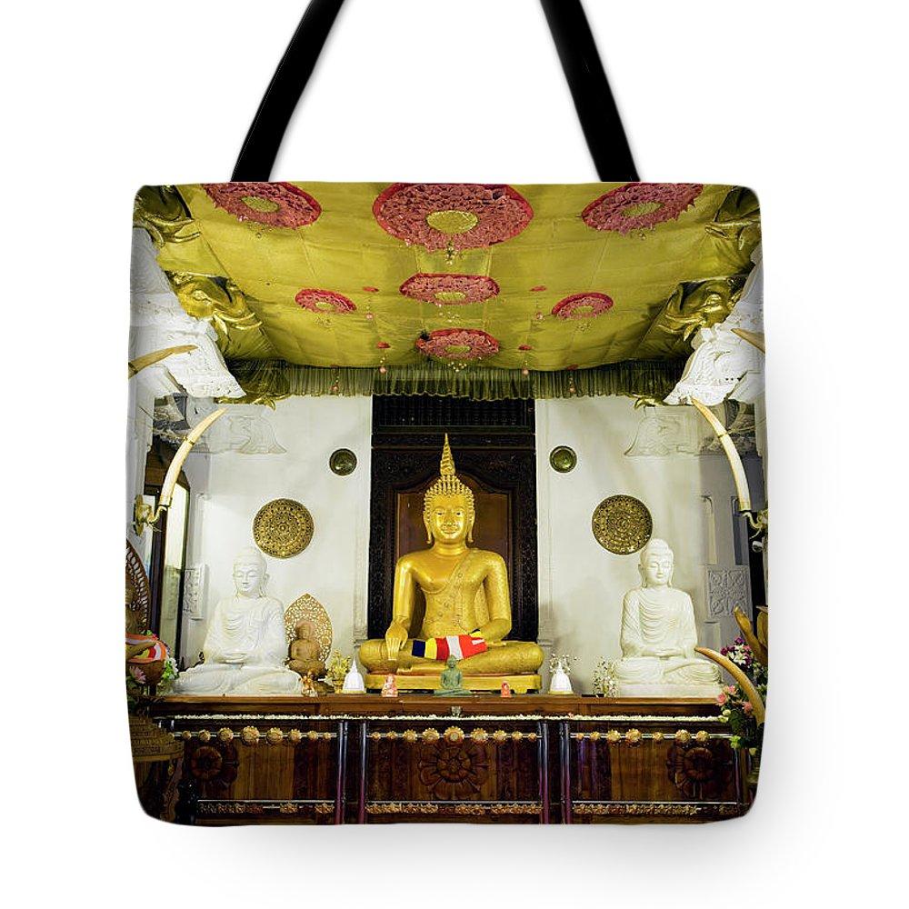 Kandy Tote Bag featuring the photograph Kandy Sri Lanka Dalada Maligawa by Laughingmango