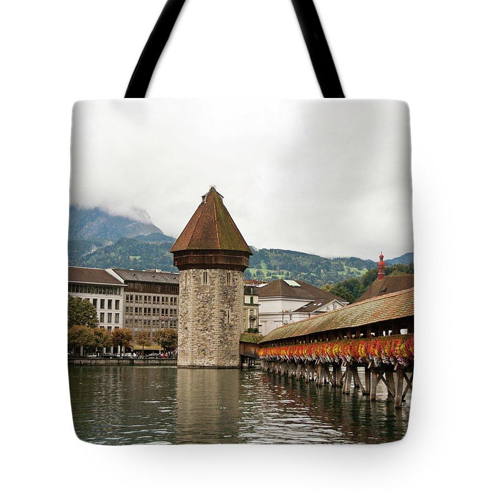 Scenics Tote Bag featuring the photograph Kapellbrucke On Reuss River, Lucerne by Cultura Rf/rosanna U