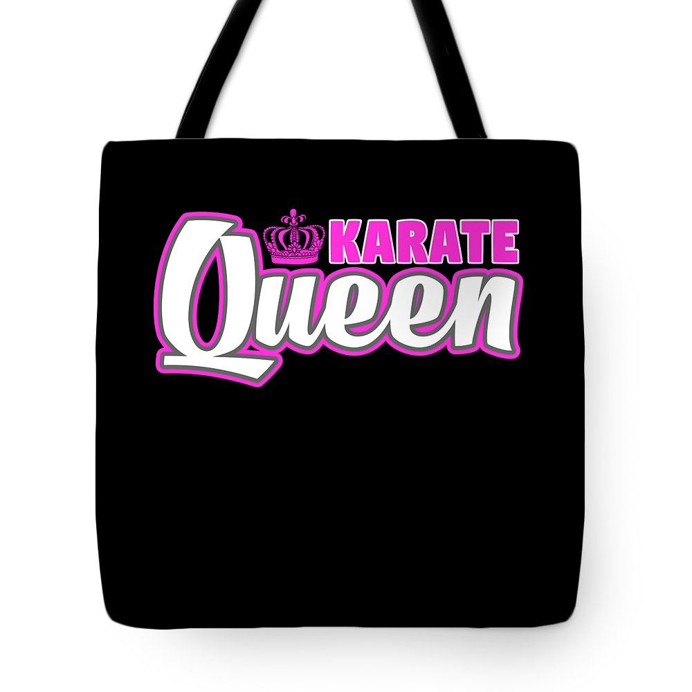 Funny-shirts Tote Bag featuring the digital art Karate Queen Cute Martial Arts Training by Henry B