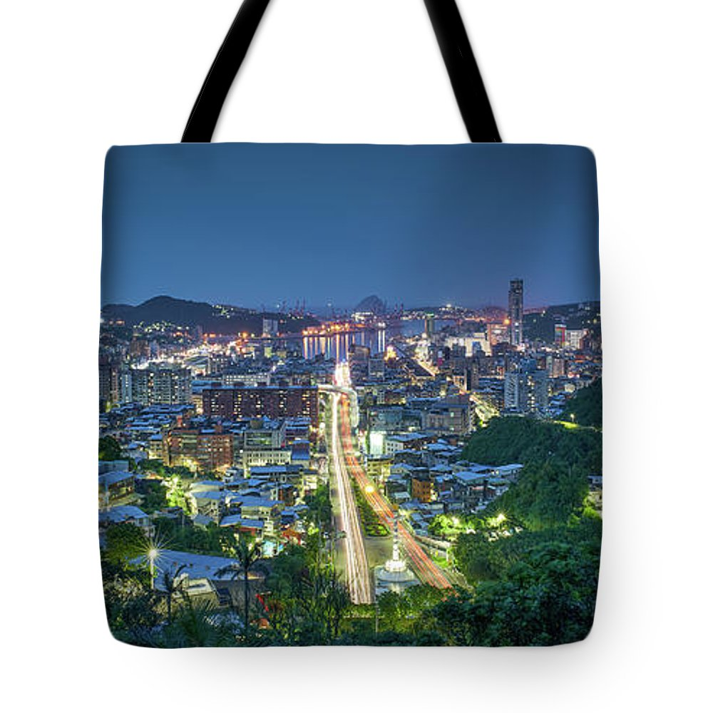 Keelung Tote Bag featuring the photograph Keelung City Skyline by Yusheng Hsu