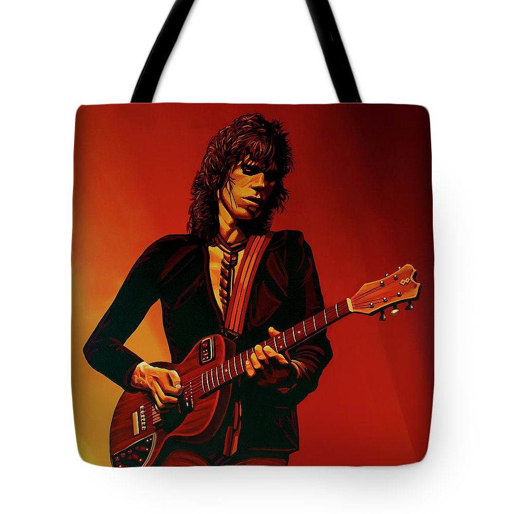 Keith Richards Tote Bag featuring the painting Keith Richards 3 by Paul Meijering