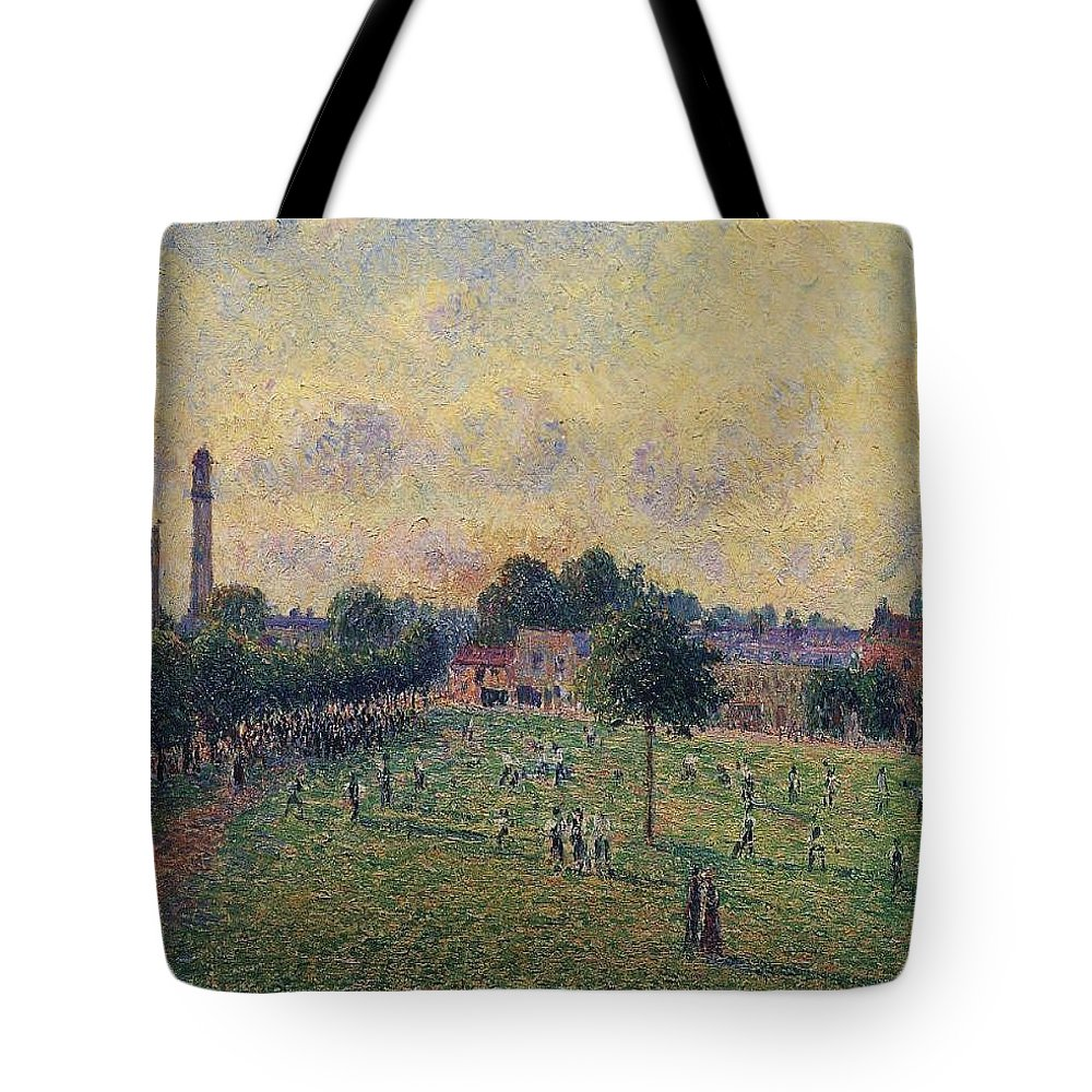 Camille Pissarro Tote Bag featuring the painting Kew Gardens, 1892 01 by Camille Pissarro