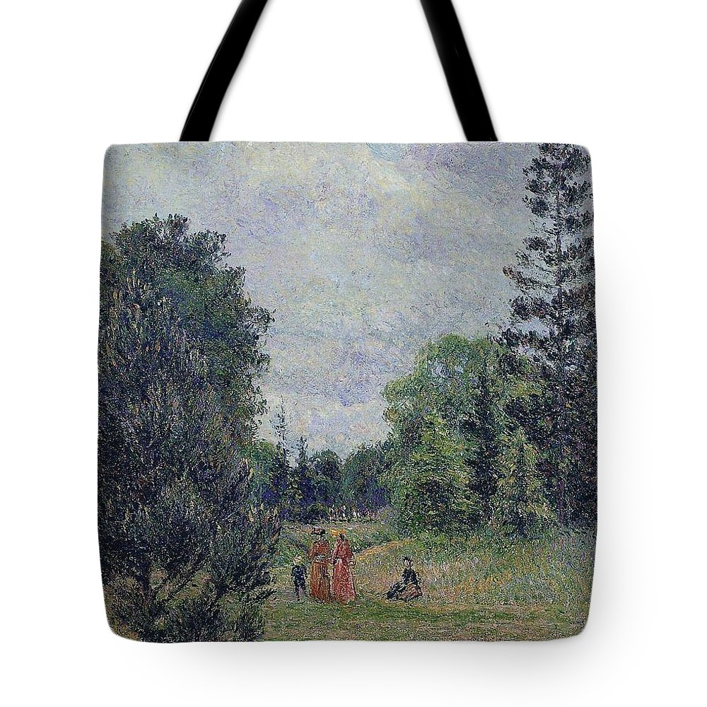 Camille Pissarro Tote Bag featuring the painting Kew Gardens, Crossroads Near The Pond, 1892 by Camille Pissarro