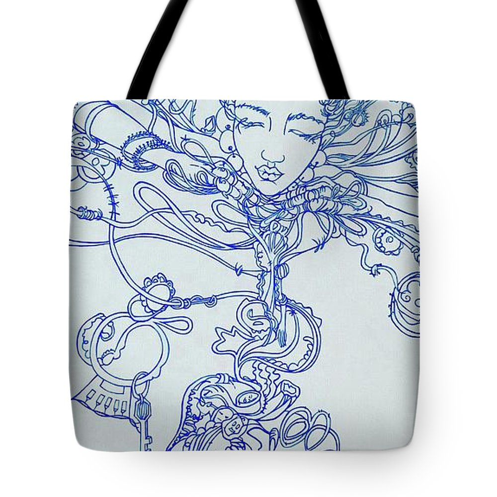 Tote Bag featuring the painting Keys To The Garden by Judy Henninger