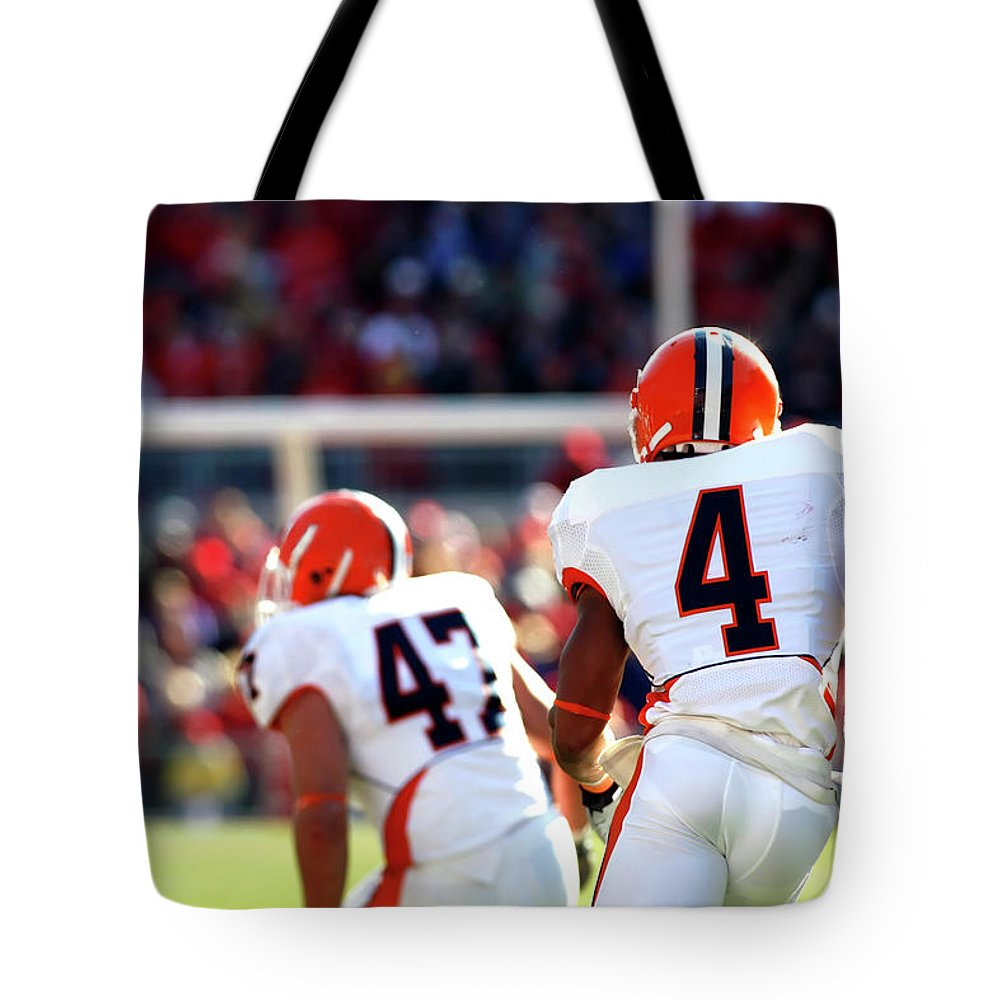 American Football Uniform Tote Bag featuring the photograph Kickoff Return by Filo