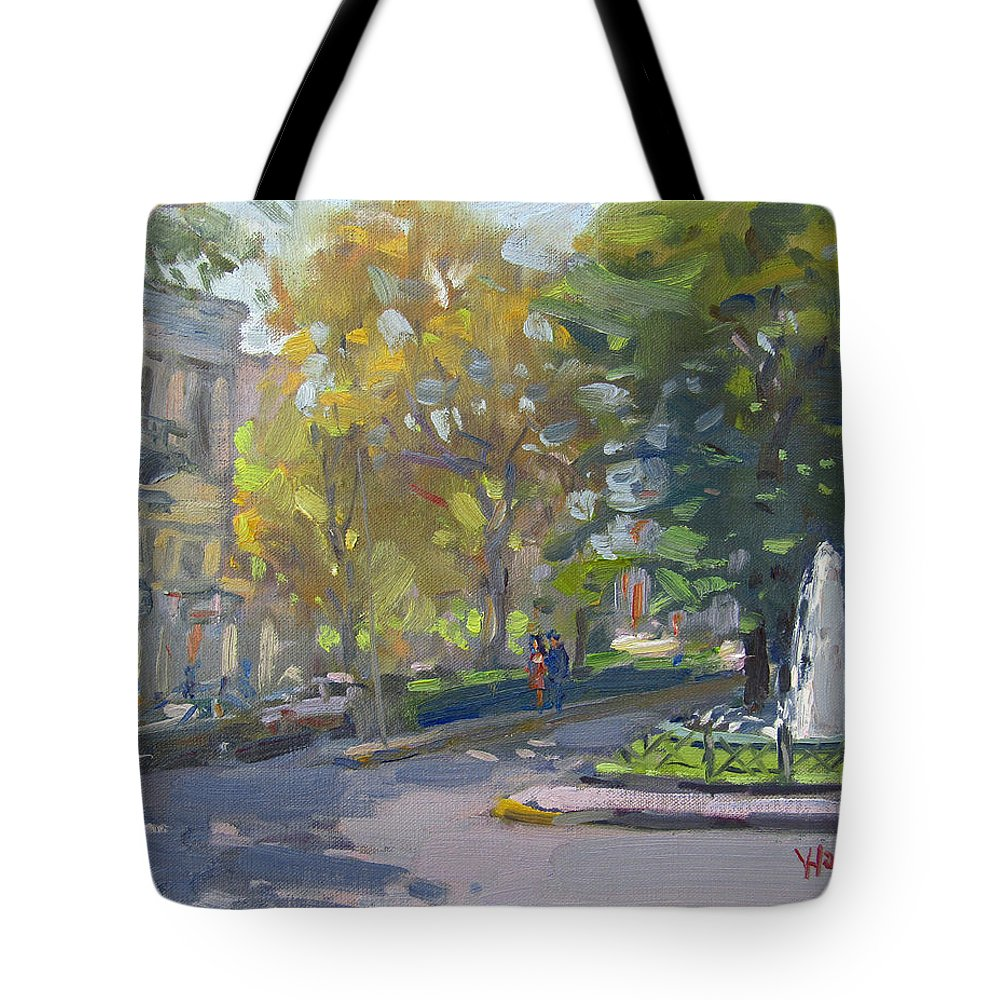 Kifissia Tote Bag featuring the painting Kifissia Athens by Ylli Haruni