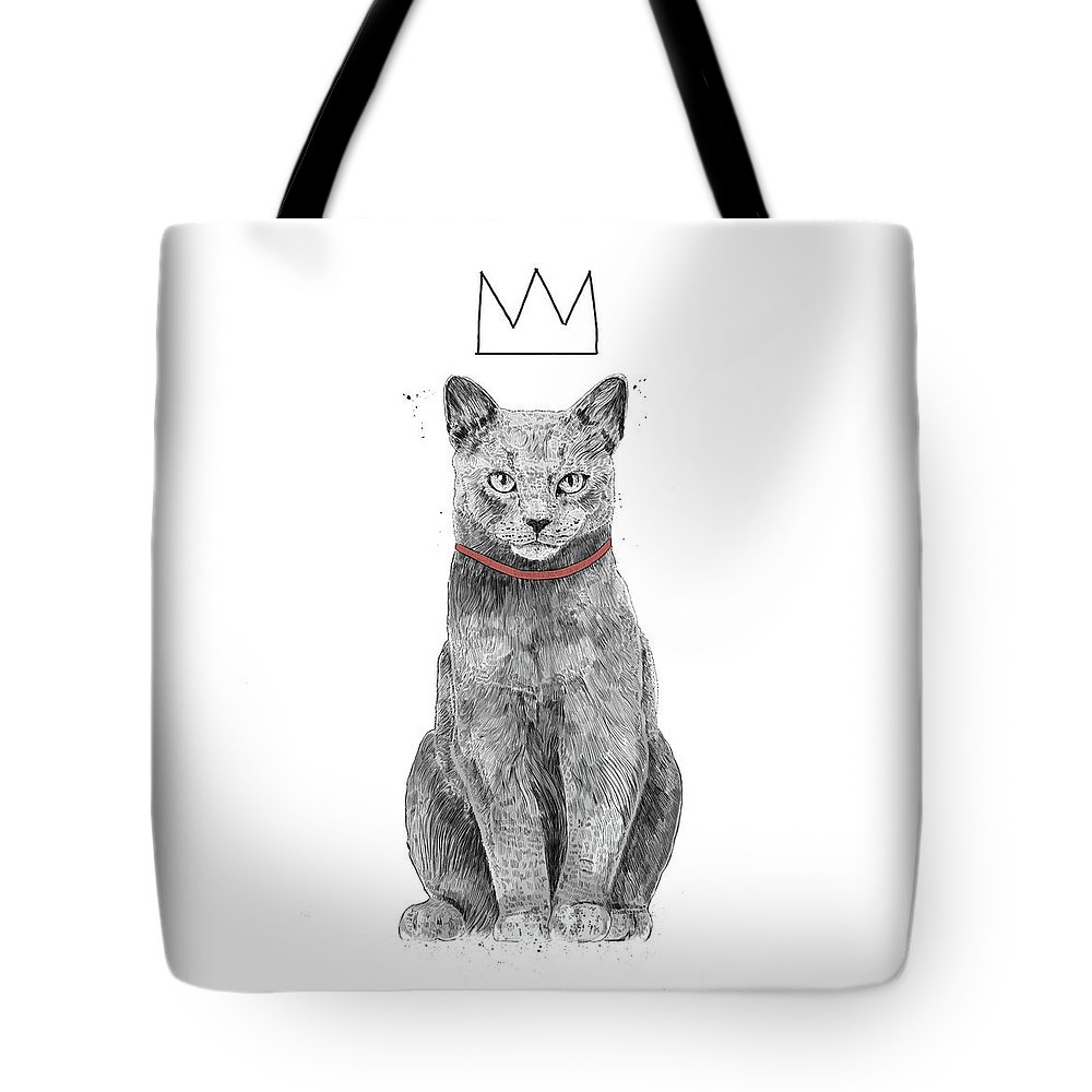 Cat Tote Bag featuring the mixed media King Of Everything by Balazs Solti