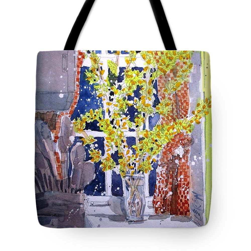 Forsythia Tote Bag featuring the painting Kitchen Forsythia by Larry Lerew