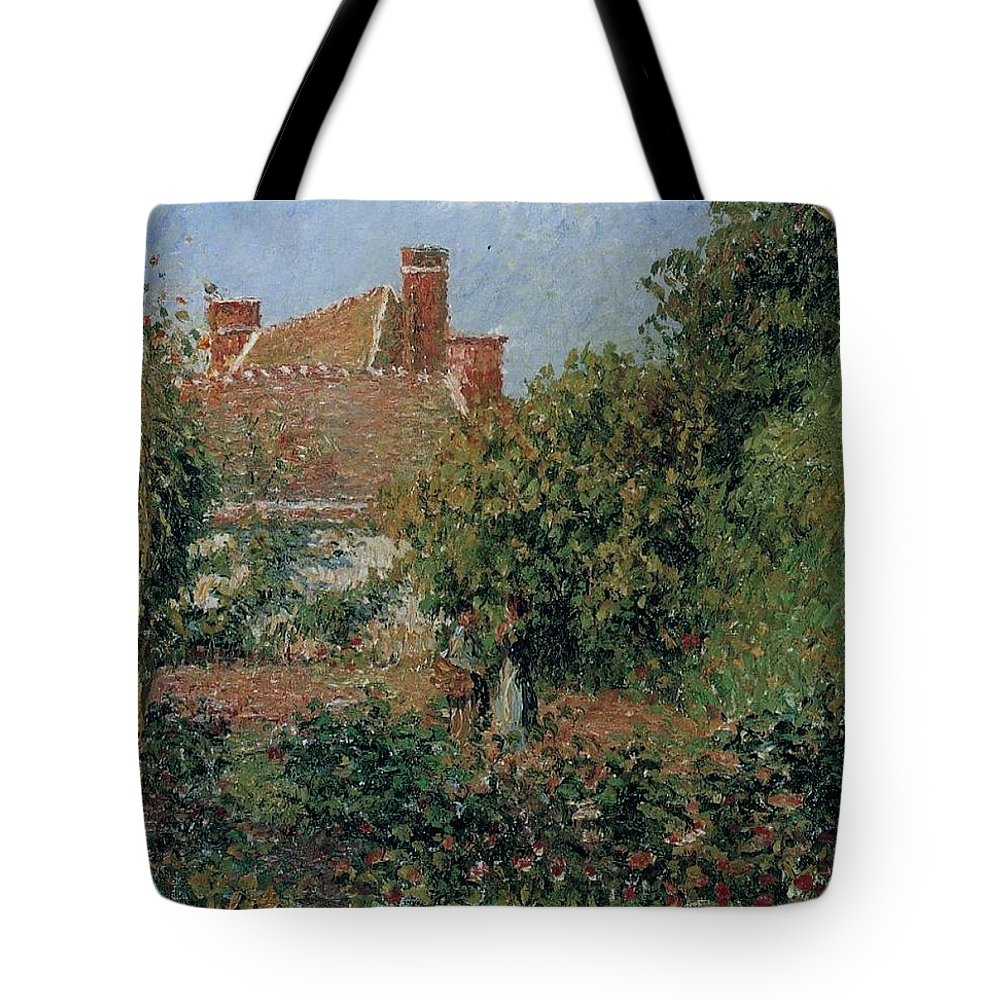 Camille Pissarro Tote Bag featuring the painting Kitchen Garden In Eragny, Afternoon, 1901 by Camille Pissarro