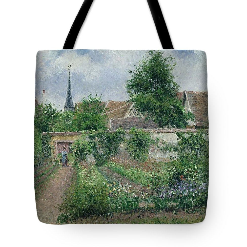 Camille Pissarro Tote Bag featuring the painting Kitchen Garden, Overcast Morning, Eragny, 1891 by Camille Pissarro