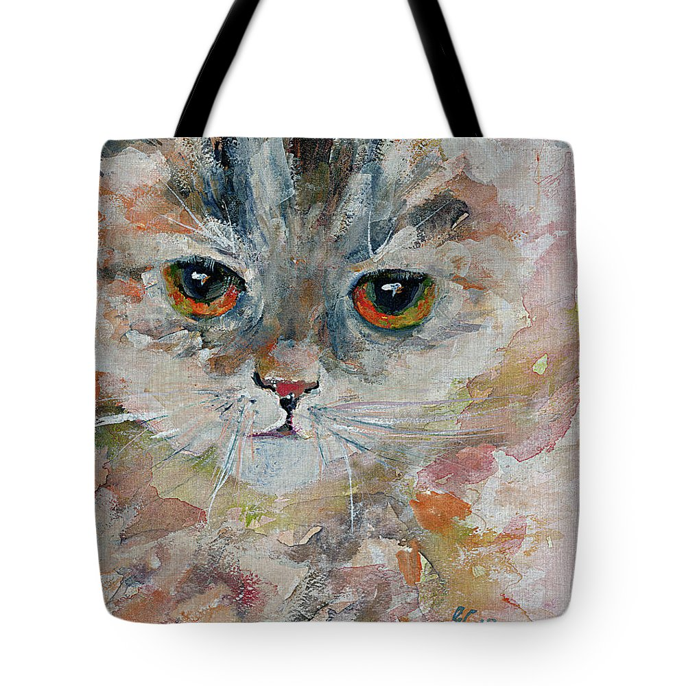 Cats Tote Bag featuring the painting Kitten Portrait by Ginette Callaway