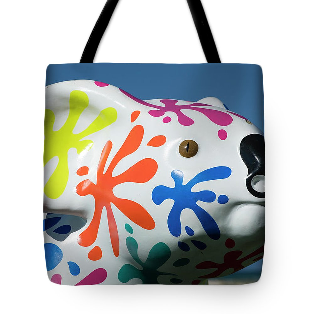 Photography Tote Bag featuring the photograph Koala Sculpture On The Beach, Coral by Panoramic Images