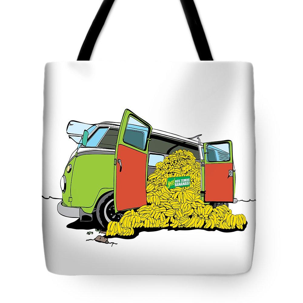 Car Tote Bag featuring the drawing Kombanana by Fernando Trinkenreich