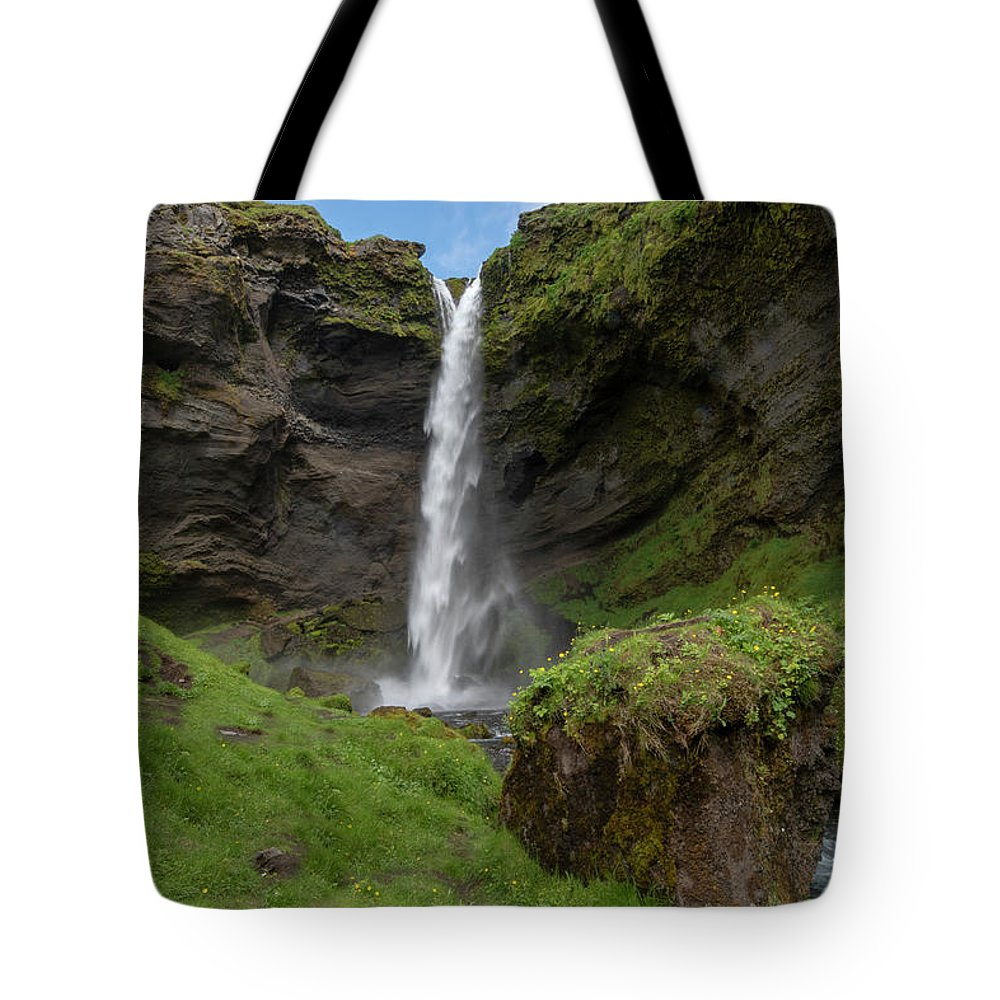 Tote Bag featuring the photograph Kvernufoss Waterfall Iceland 7011901 by Rick Veldman