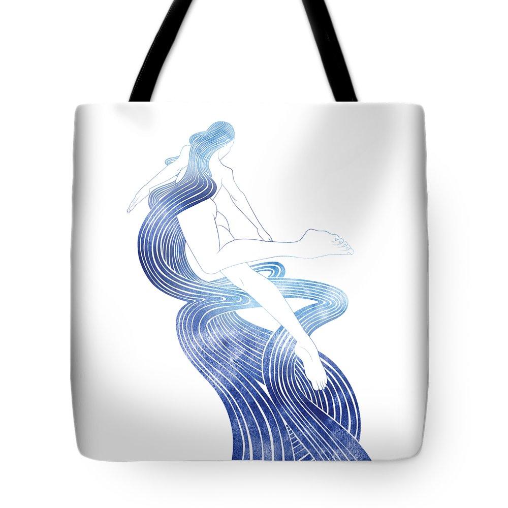 Aqua Tote Bag featuring the mixed media Kymo by Stevyn Llewellyn
