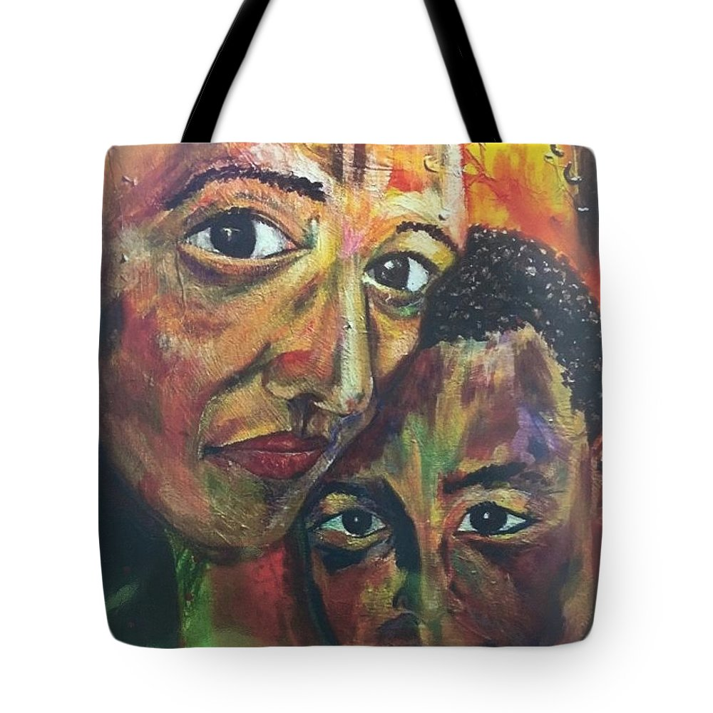 Mujer Tote Bag featuring the painting La Mujer Fuerte by Che' La'Mora