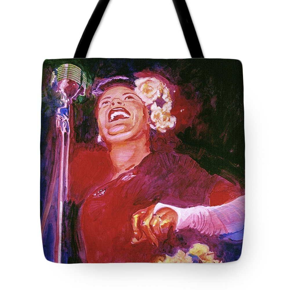 Jazz Tote Bag featuring the painting Lady Day - Billie Holliday by David Lloyd Glover