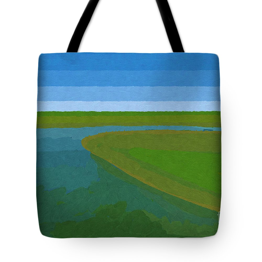 Pflugerville Tote Bag featuring the painting Lake Pflugerville Abstract Landscape by D Tao