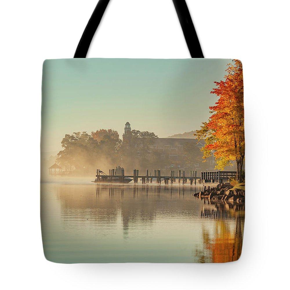Lake Winnipesaukee Tote Bag featuring the photograph Lake Winnipesaukee Meredith New Hampshire Fall by Trevor Slauenwhite