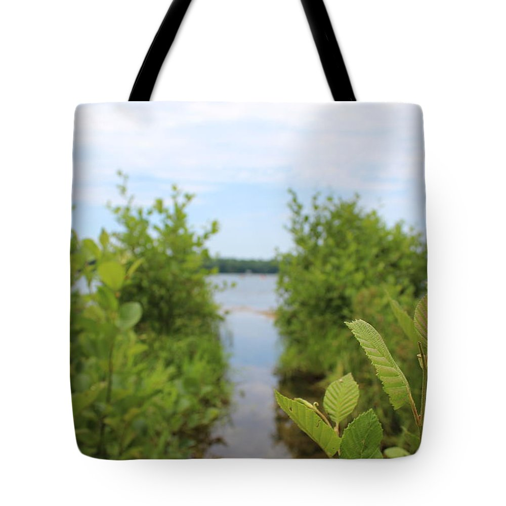 Lake Tote Bag featuring the photograph Lakeside Greenery by Brittany Galipeau