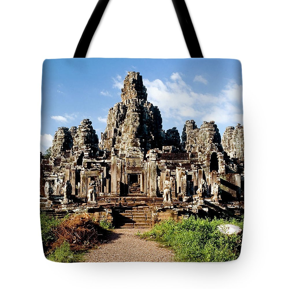 Scenics Tote Bag featuring the photograph Landscape Photo Of Bayon Temple In by Laughingmango