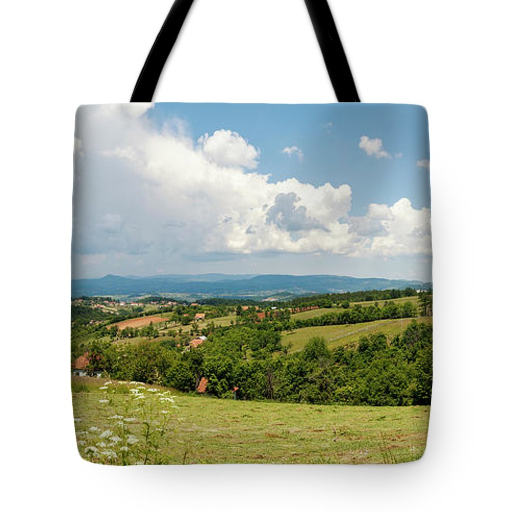 Landscape Tote Bag featuring the photograph Landscape With Orchards by Dejan Jekic