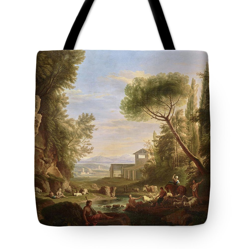 Landscape With Water Tote Bag featuring the painting Landscape With Water by Raffaele Carelli