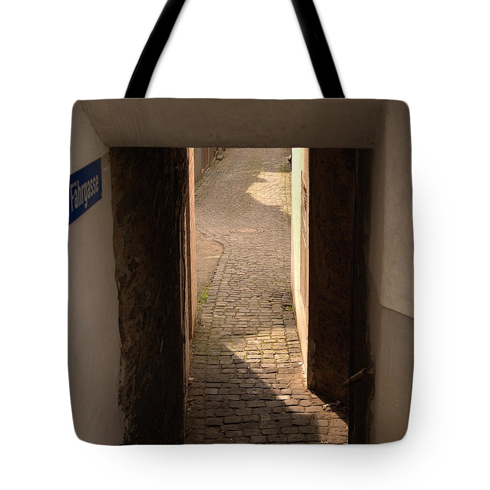 Fahrgasse Tote Bag featuring the photograph lane in Cochem-Cond in Germany by Victor Lord Denovan