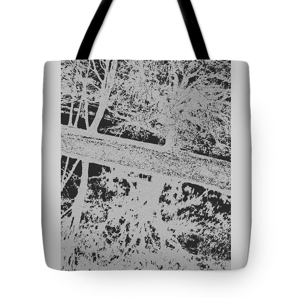 Park Tote Bag featuring the digital art Langan Park - Tree Reflections On A Slant - Silver And Black by Marian Bell
