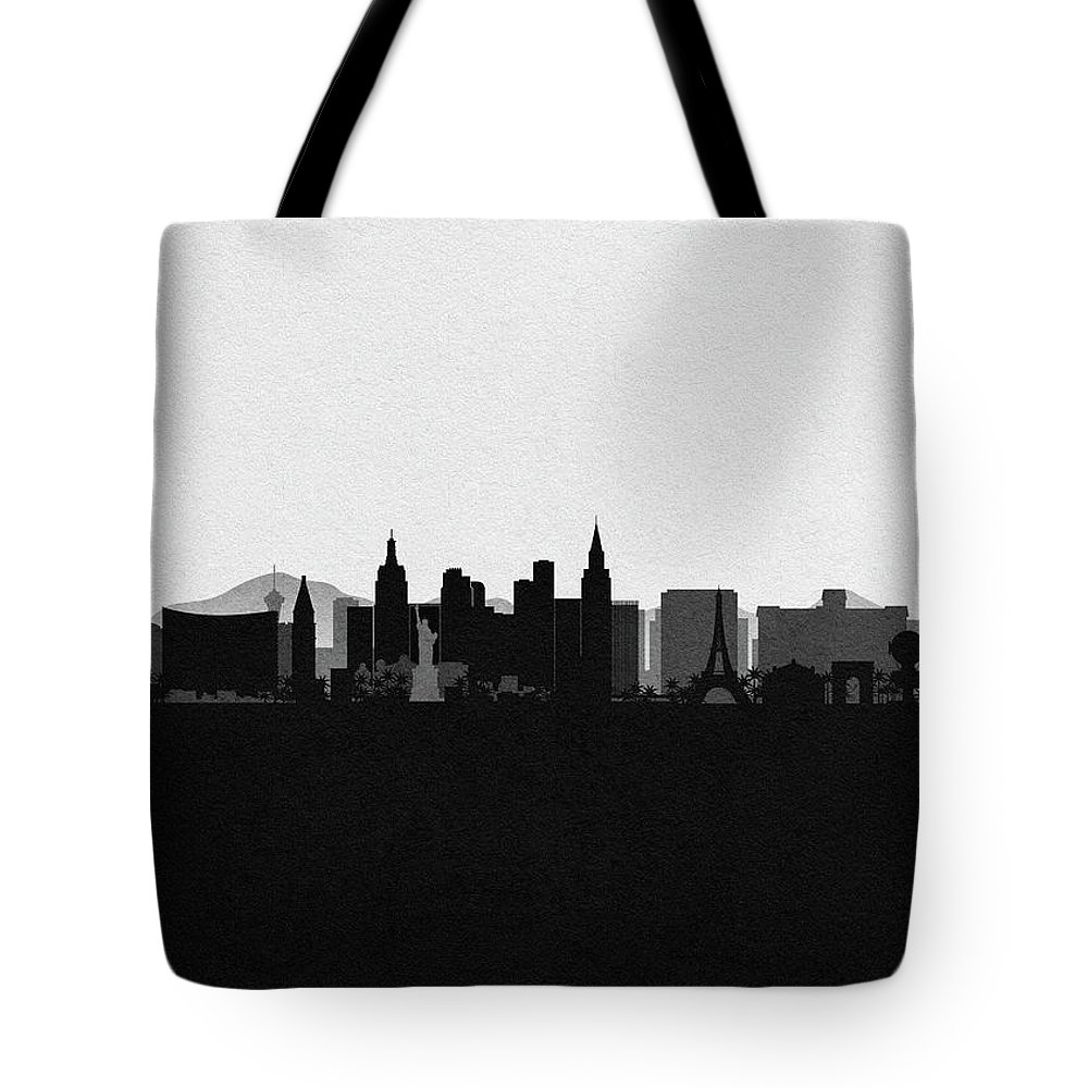 Las Vegas Tote Bag featuring the drawing Las Vegas Cityscape Art by Inspirowl Design