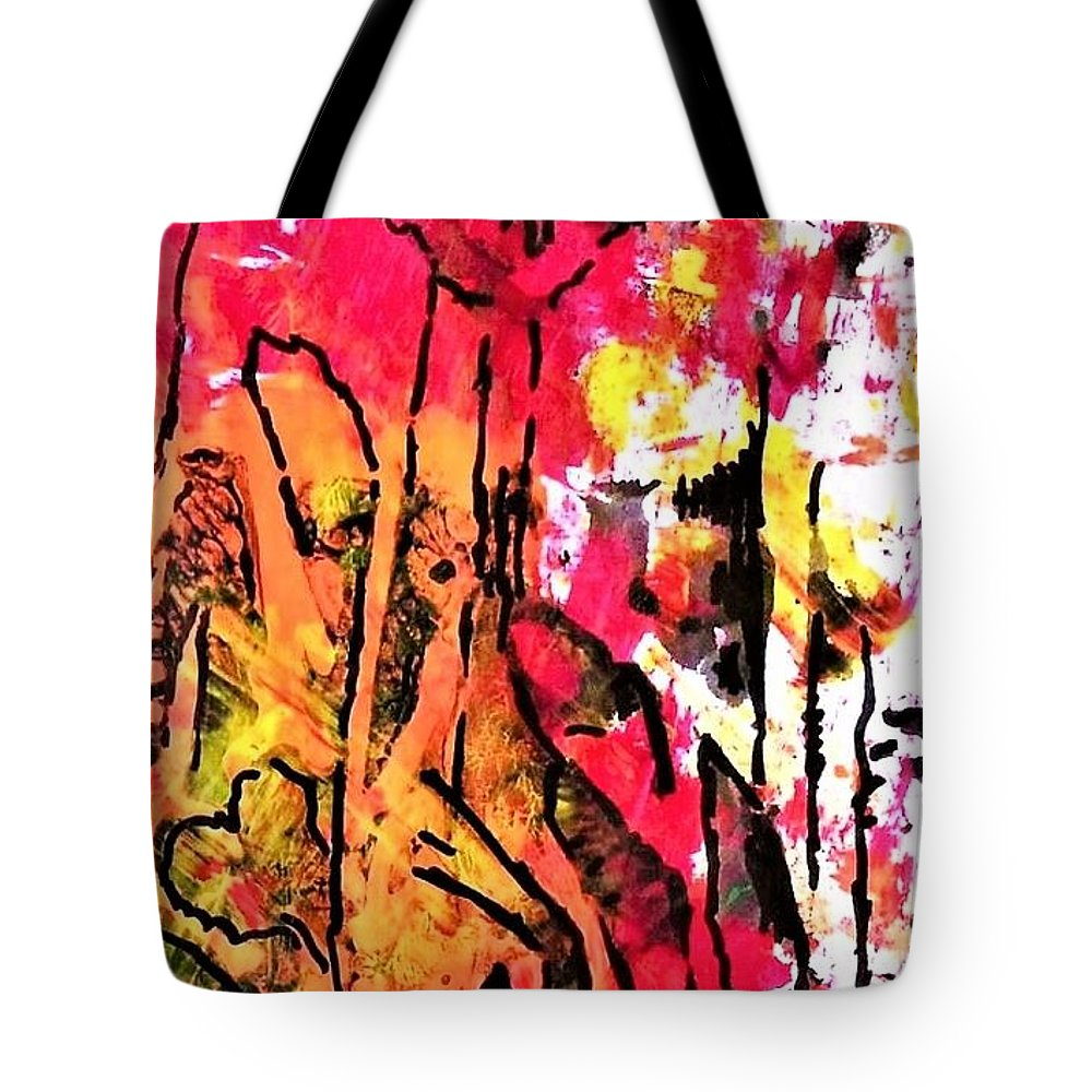 Flower Tote Bag featuring the painting Laughing Flowers by Chava Silverman