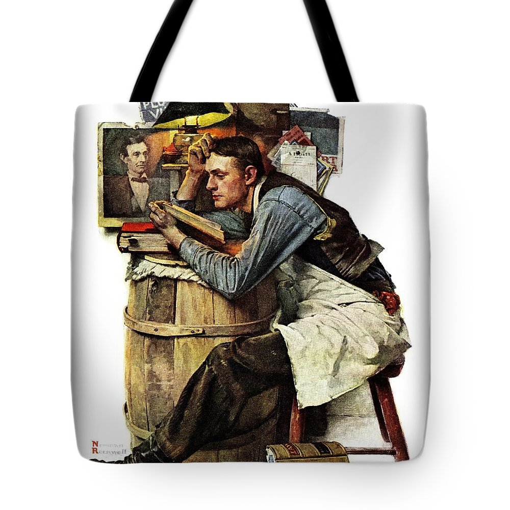 Books Tote Bag featuring the drawing Law Student by Norman Rockwell