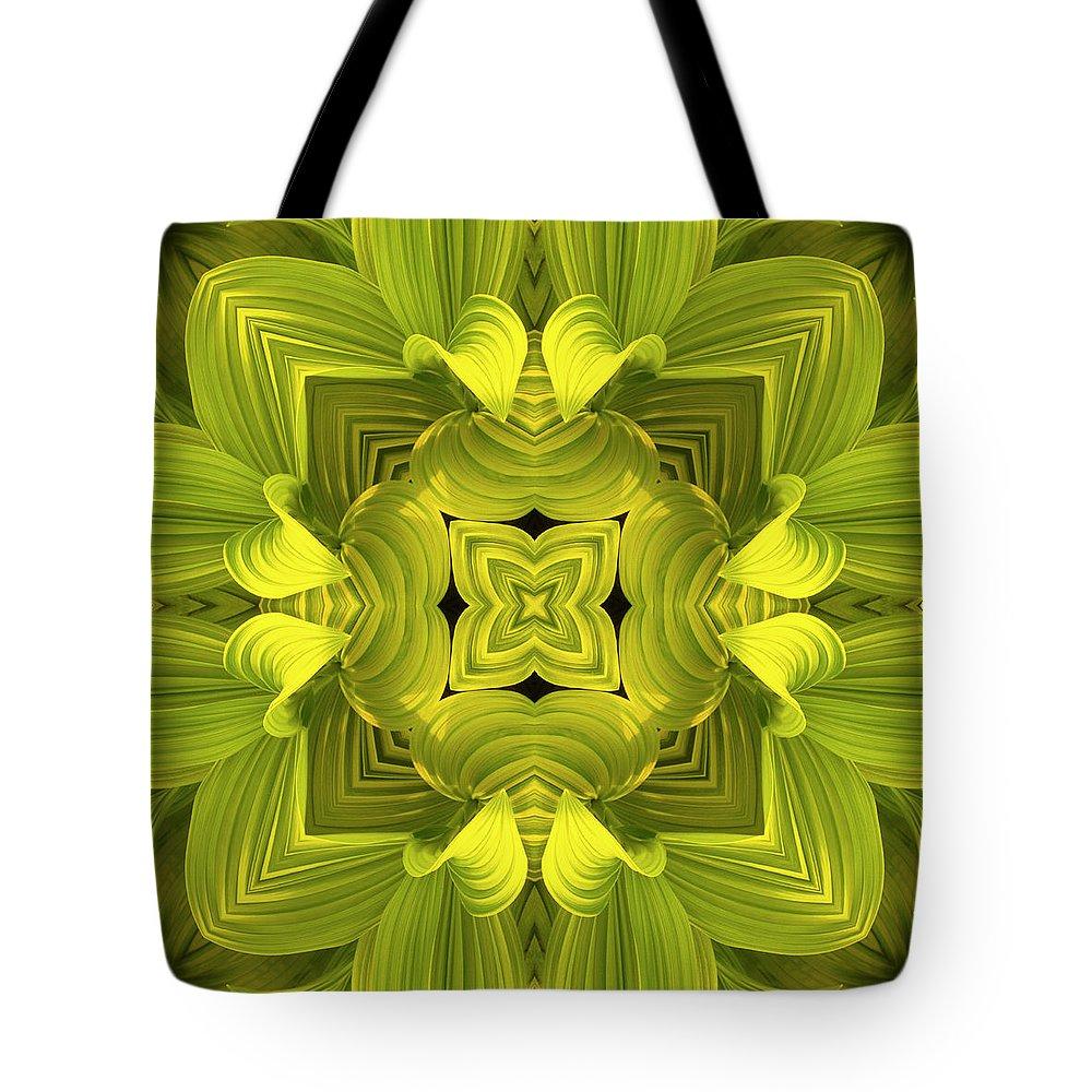 Mandala Tote Bag featuring the photograph Leafy Mandala by Steve Satushek