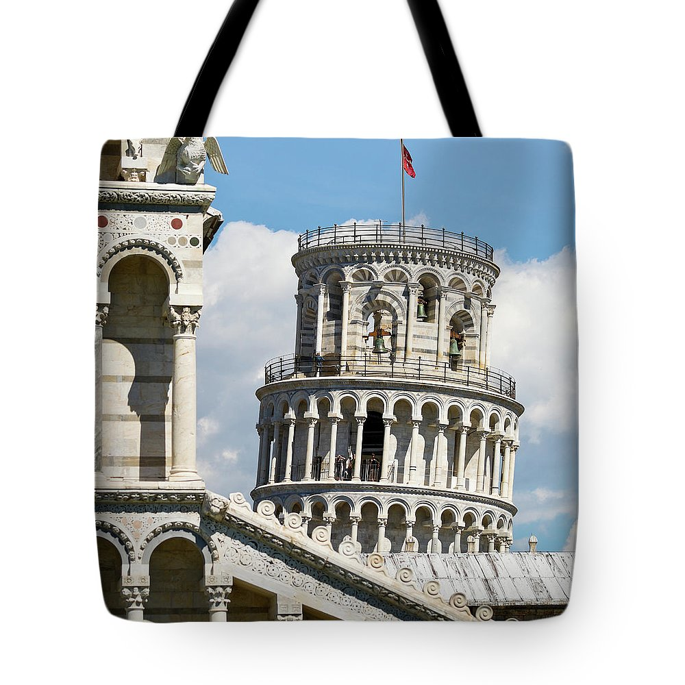 Italian Culture Tote Bag featuring the photograph Leaning Tower Of Pisa, Tuscany, Italy by Miralex