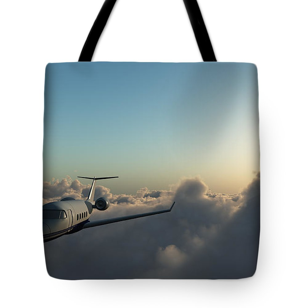 Mid-air Tote Bag featuring the photograph Learjet 60 Above The Clouds by Joelena